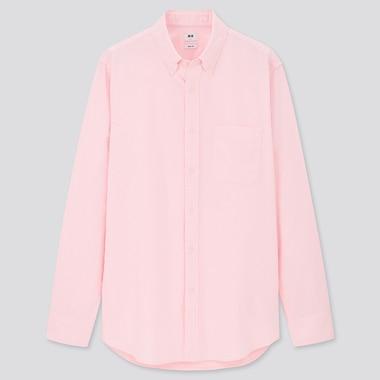 Men Oxford Slim-Fit Long-Sleeve Shirt, Pink, Medium