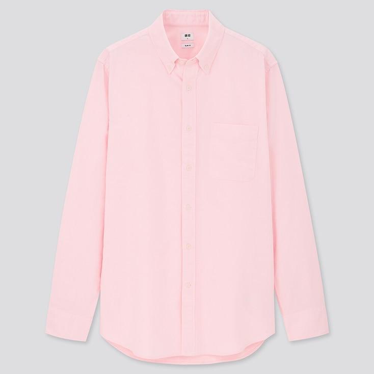 Men Oxford Slim-Fit Long-Sleeve Shirt, Pink, Large