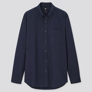 Men Oxford Slim-Fit Long-Sleeve Shirt, Blue, Medium