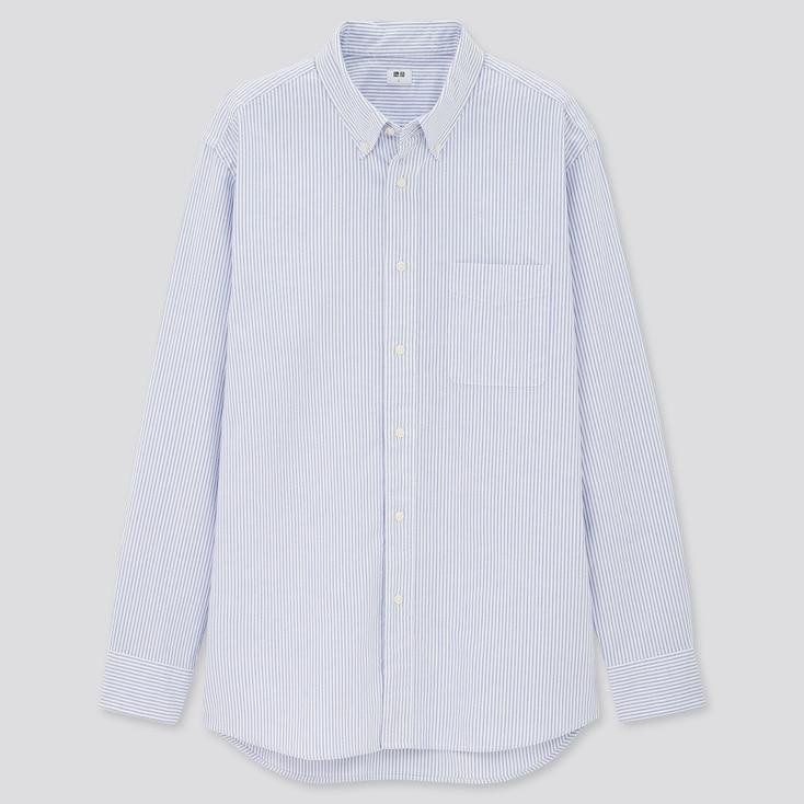 Men Oxford Striped Long-Sleeve Shirt, Blue, Large