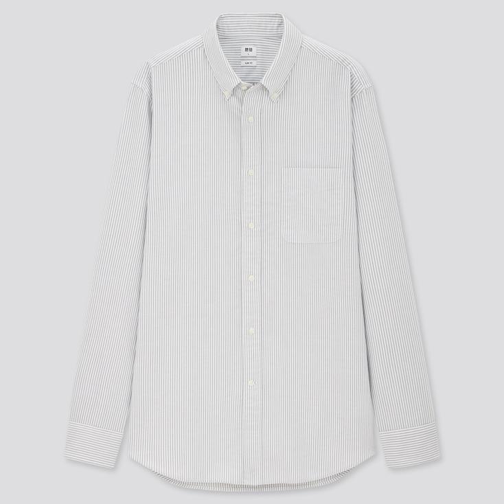 Men Oxford Striped Slim-Fit Long-Sleeve Shirt, Gray, Large