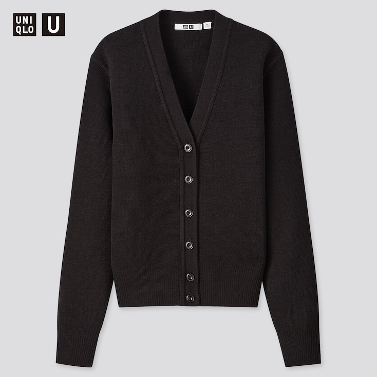 Women U Merino-Blend V-Neck Cardigan, Black, Large