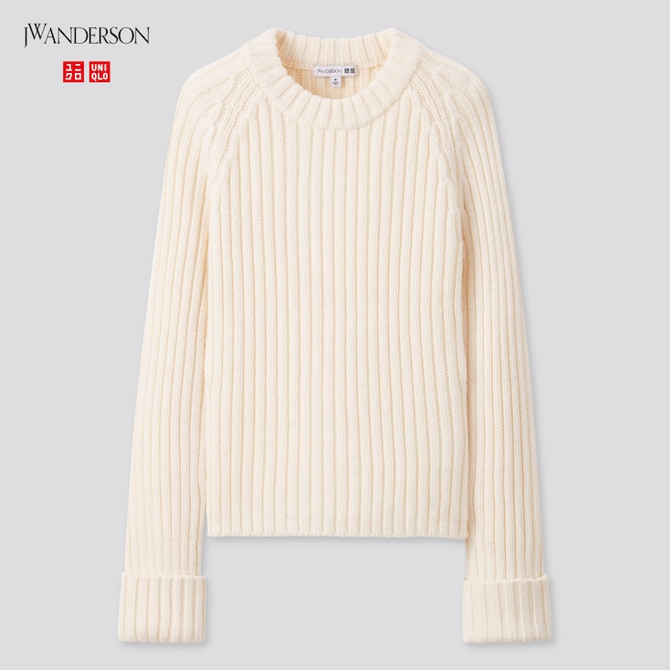 Women Cropped Crew Neck Sweater (Jw Anderson), Off White, Large
