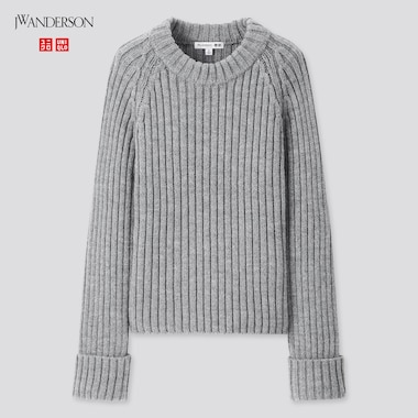 Women Cropped Crew Neck Sweater (Jw Anderson), Gray, Medium