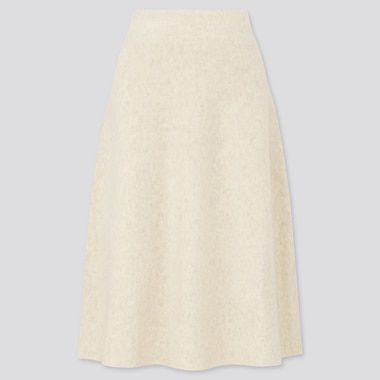 Women Souffle Yarn Flare Skirt, Off White, Medium