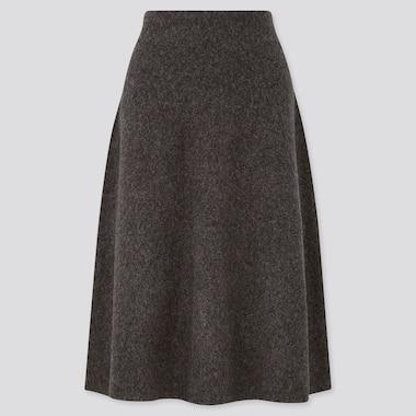 Women Souffle Yarn Flare Skirt, Dark Gray, Medium