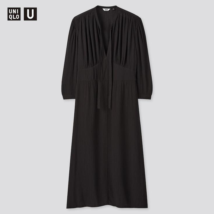 Women U Viscose Bow Tie 3/4-Sleeve Dress, Black, Large