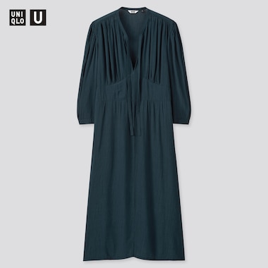 Women Uniqlo U Viscose Bow Tie 3/4 Sleeved Dress