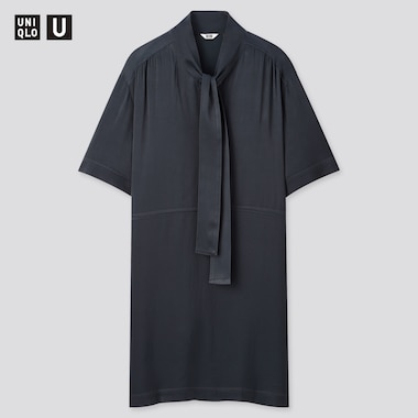 Women Uniqlo U Crepe Bow Tie Half Sleeved Dress