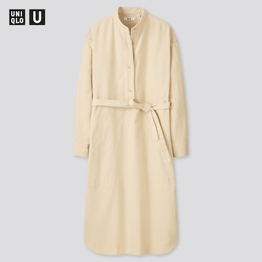Women Uniqlo U Corduroy Stand Collar Long Sleeved Dress
