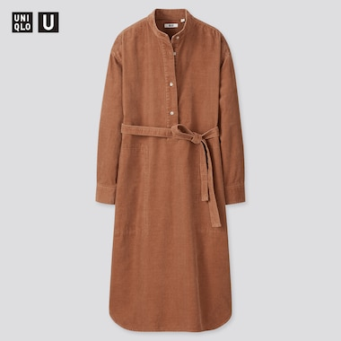 Women U Corduroy Stand Collar Long-Sleeve Dress, Brown, Medium