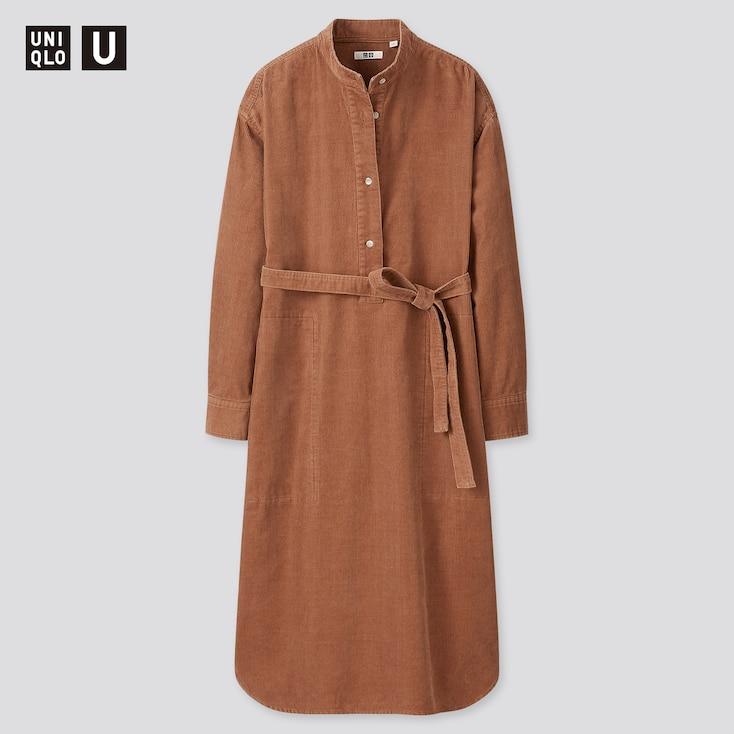 Women U Corduroy Stand Collar Long-Sleeve Dress, Brown, Large