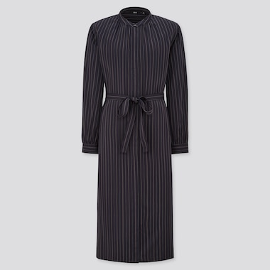 Women Rayon Striped Long Sleeved Shirt Dress