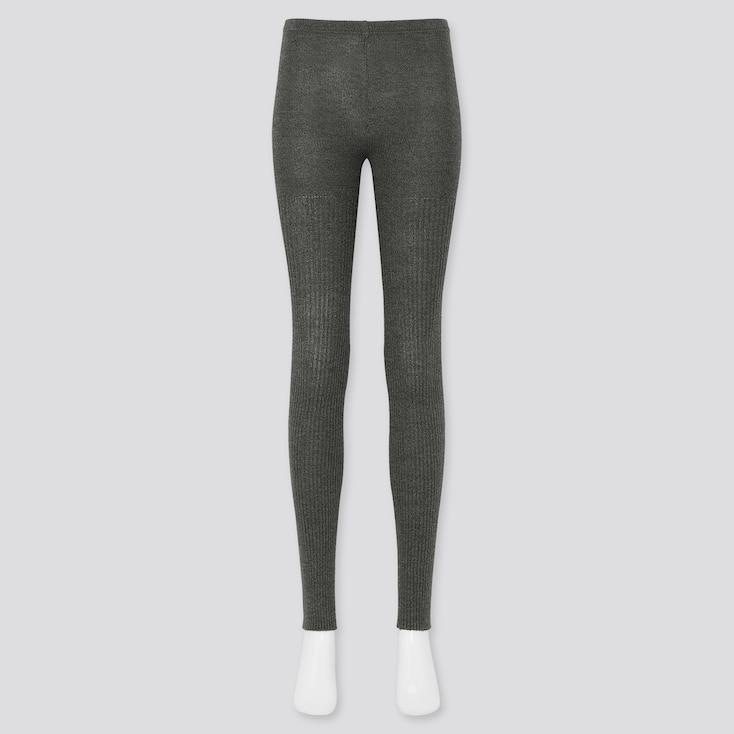 Women Ribbed Heattech Knitted Leggings (Online Exclusive), Dark Gray, Large
