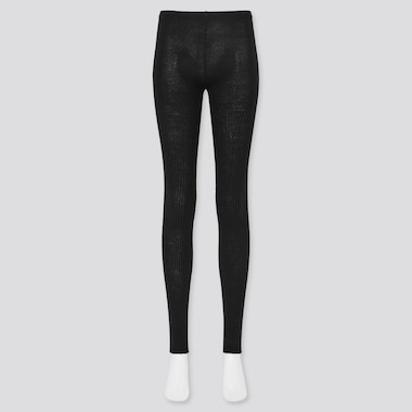 Women Ribbed Heattech Knitted Leggings (Online Exclusive), Black, Medium