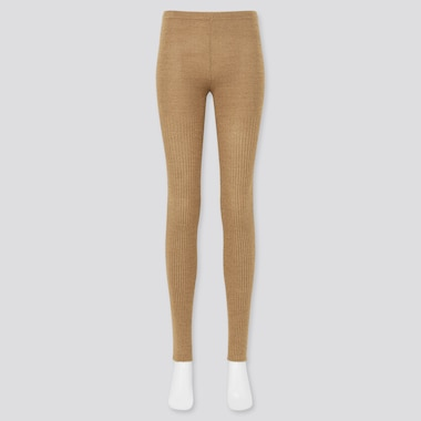 Women Ribbed Heattech Knitted Leggings (Online Exclusive), Beige, Medium