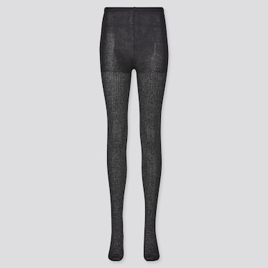 Women Heattech Glitter Knitted Tights (Online Exclusive), Black, Medium