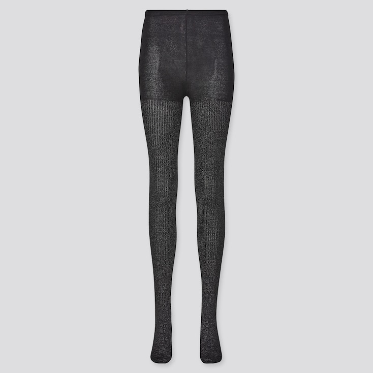 Women Heattech Glitter Knitted Tights (Online Exclusive), Black, Large