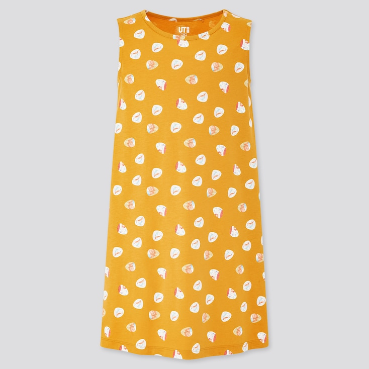Girls The Tale Of Genji Sleeveless Dress, Yellow, Large