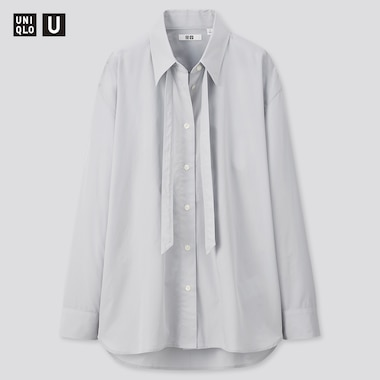 Women Uniqlo U Cotton Oversized Fit Bow Tie Long Sleeved Shirt