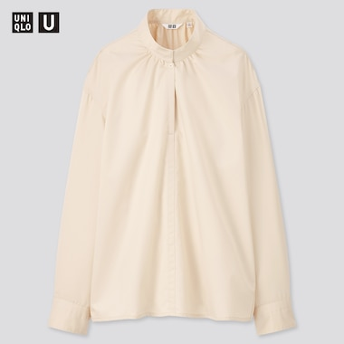 Women Uniqlo U Cotton Satin Stand Collar Long Sleeved Shirt