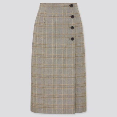 Women Checked Side Button Wrap Skirt