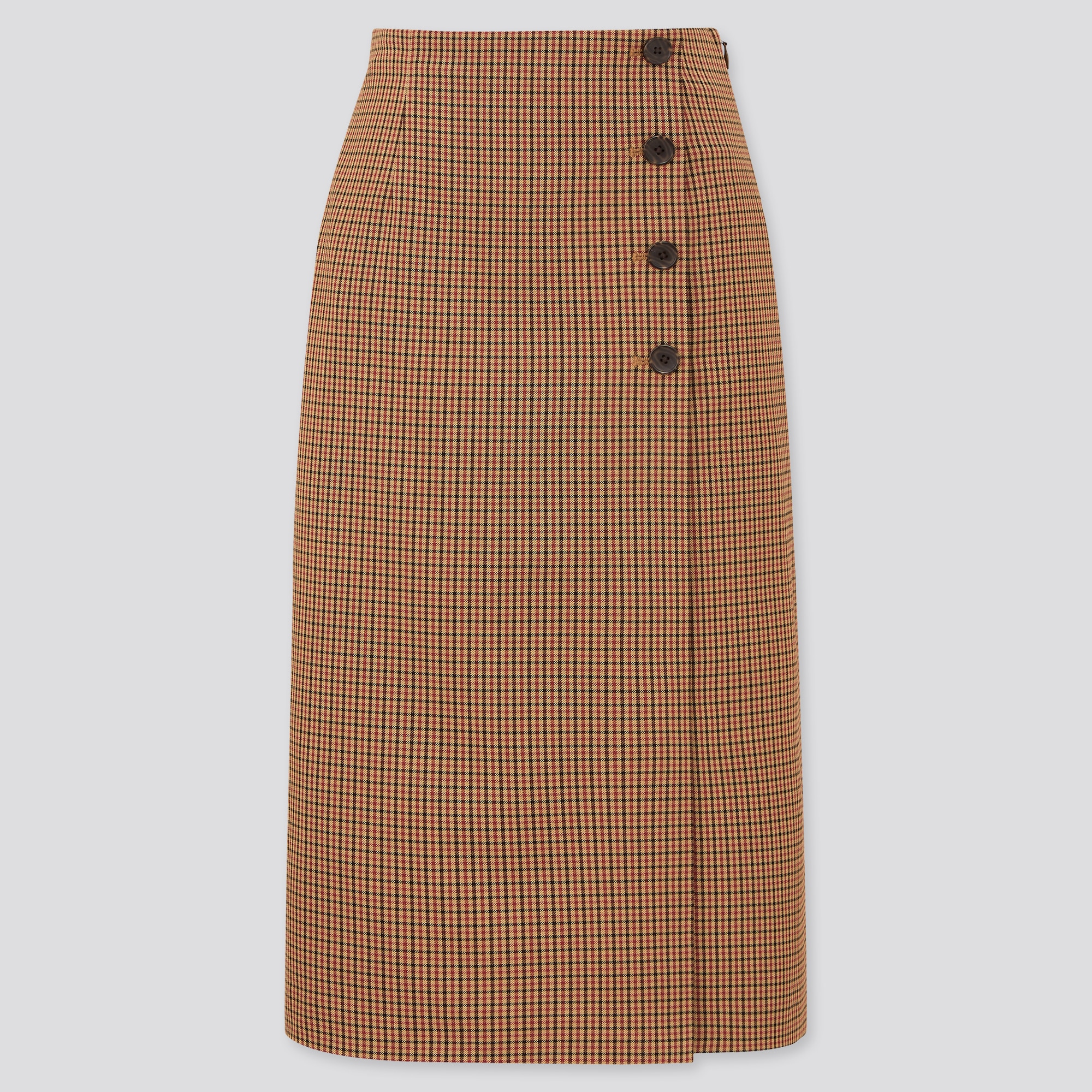 WOMEN SIDE BUTTON CHECKED WRAP SKIRT