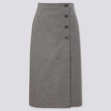 Damen Karierter Wickelrock mit Knöpfen