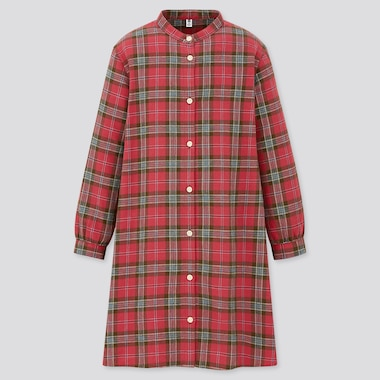 Girls Flannel Checked Long Sleeved Dress