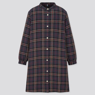 Girls Flannel Long-Sleeve Checked Dress, Navy, Medium