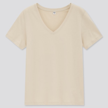 T-Shirt 100% Cotone Supima Collo A V Donna