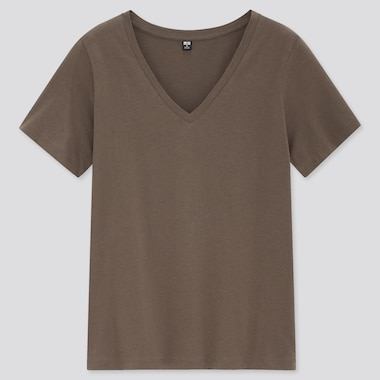 Women Supima Cotton V-Neck Short-Sleeve T-Shirt, Brown, Medium