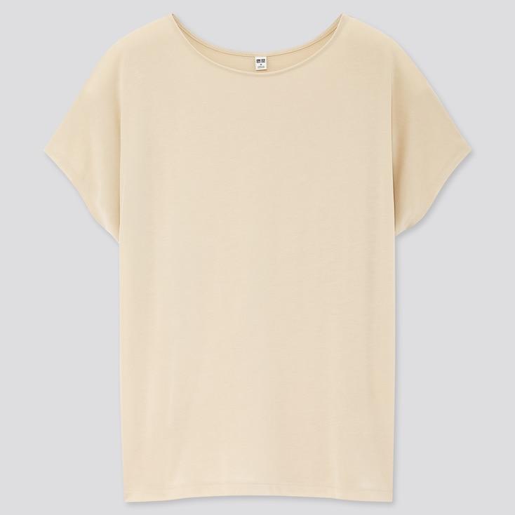 Women Drape Crew Neck Short-Sleeve T-Shirt, Natural, Large