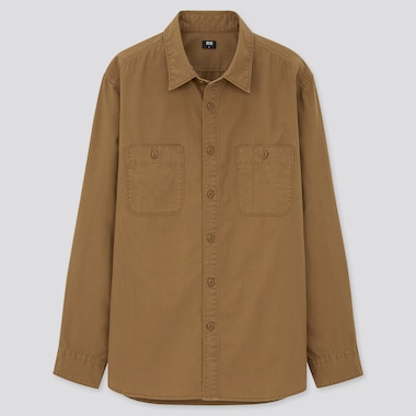 Wash Long-Sleeve Work Shirt, Brown, Medium