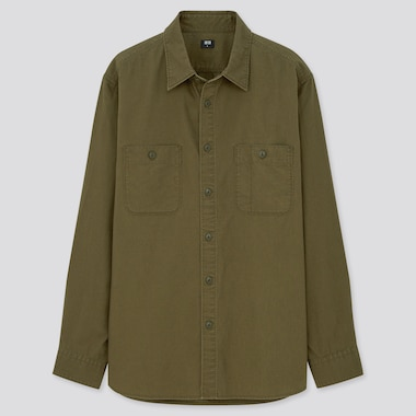 Wash Long-Sleeve Work Shirt, Olive, Medium