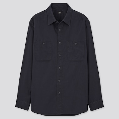 Men Wash Long-Sleeve Work Shirt, Navy, Medium