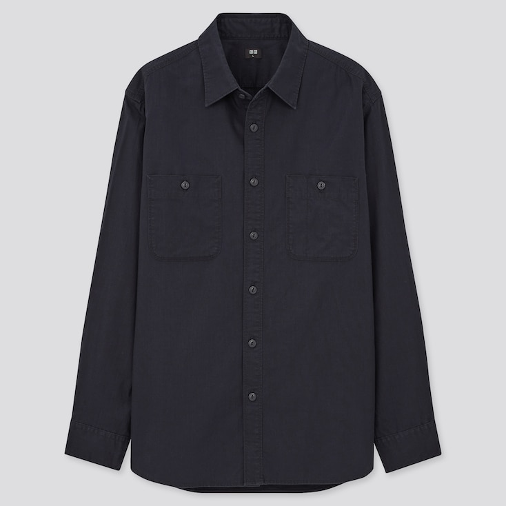 Wash Long-Sleeve Work Shirt, Navy, Large