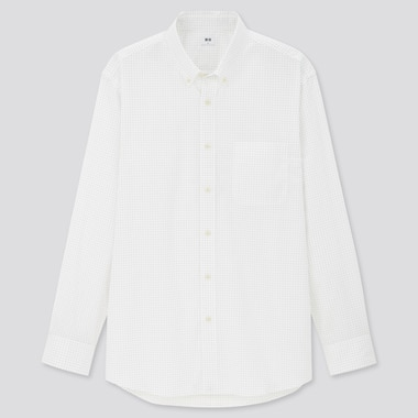 Men Extra Fine Cotton Broadcloth Long-Sleeve Shirt, Off White, Medium