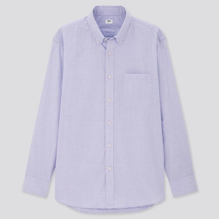 Men Extra Fine Cotton Broadcloth Long-Sleeve Shirt, Blue, Large