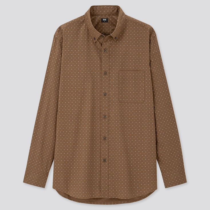 Men Extra Fine Cotton Broadcloth Long-Sleeve Shirt, Brown, Large