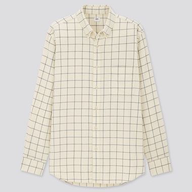 Men Flannel Checked Long-Sleeve Shirt (Online Exclusive), Off White, Medium