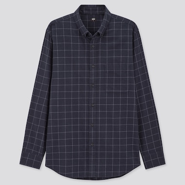 Men Flannel Checked Long-Sleeve Shirt, Navy, Medium