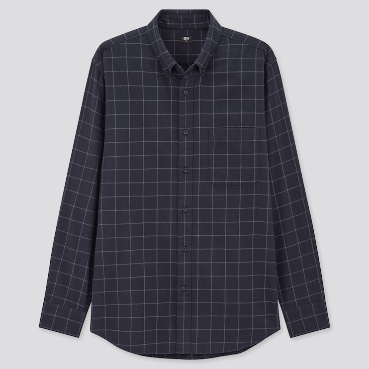Men Flannel Checked Long-Sleeve Shirt (Online Exclusive), Navy, Large