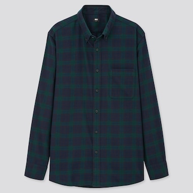 Men Flannel Checked Long-Sleeve Shirt (Online Exclusive), Dark Green, Medium
