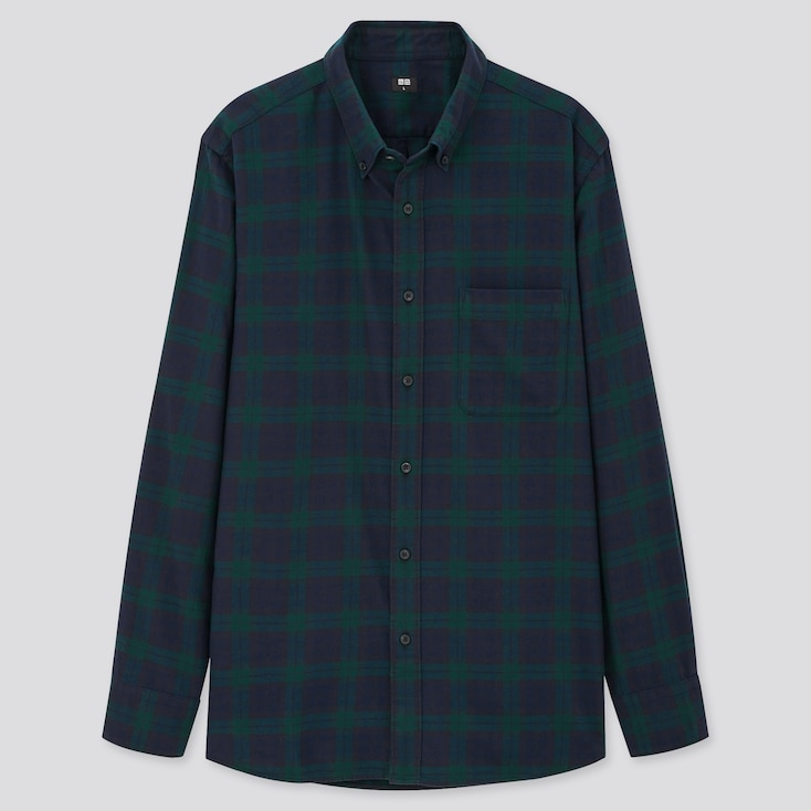 Men Flannel Checked Long-Sleeve Shirt (Online Exclusive), Dark Green, Large