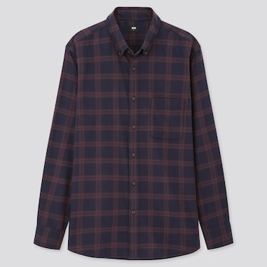 Men Flannel Checked Long-Sleeve Shirt (Online Exclusive), Purple, Medium