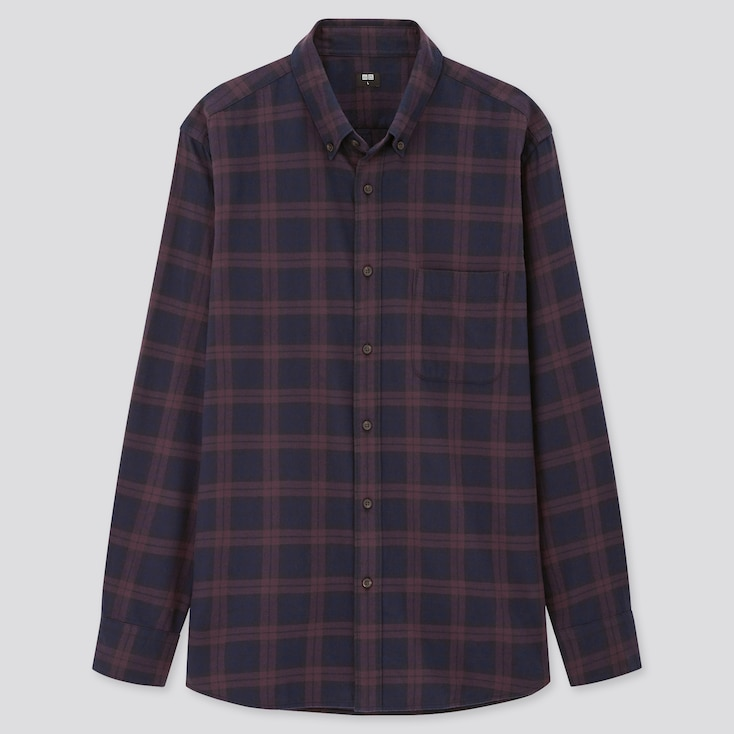 Men Flannel Checked Long-Sleeve Shirt (Online Exclusive), Purple, Large