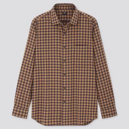 Men Flannel Regular Fit Checked Shirt (Semi-Cutaway Collar)