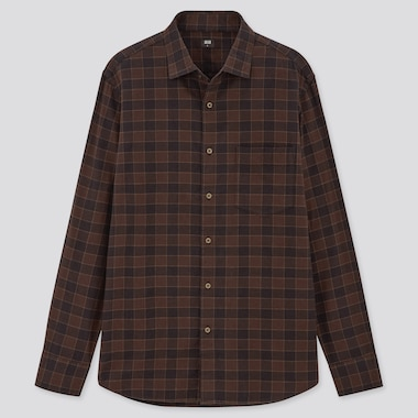 Men Flannel Checked Long-Sleeve Shirt, Dark Brown, Medium