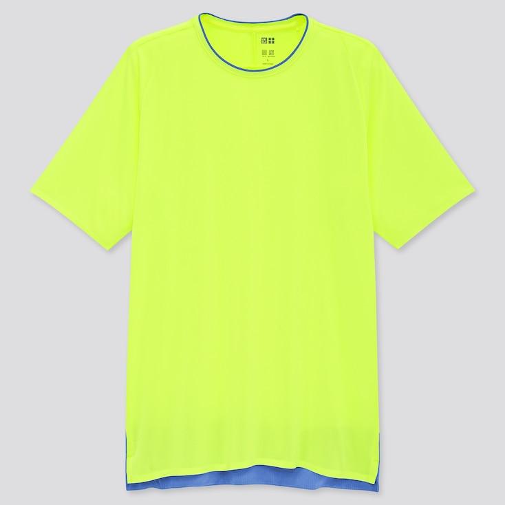 Men Uniqlo+ Dry-Ex Crew Neck Short-Sleeve T-Shirt, Yellow, Large